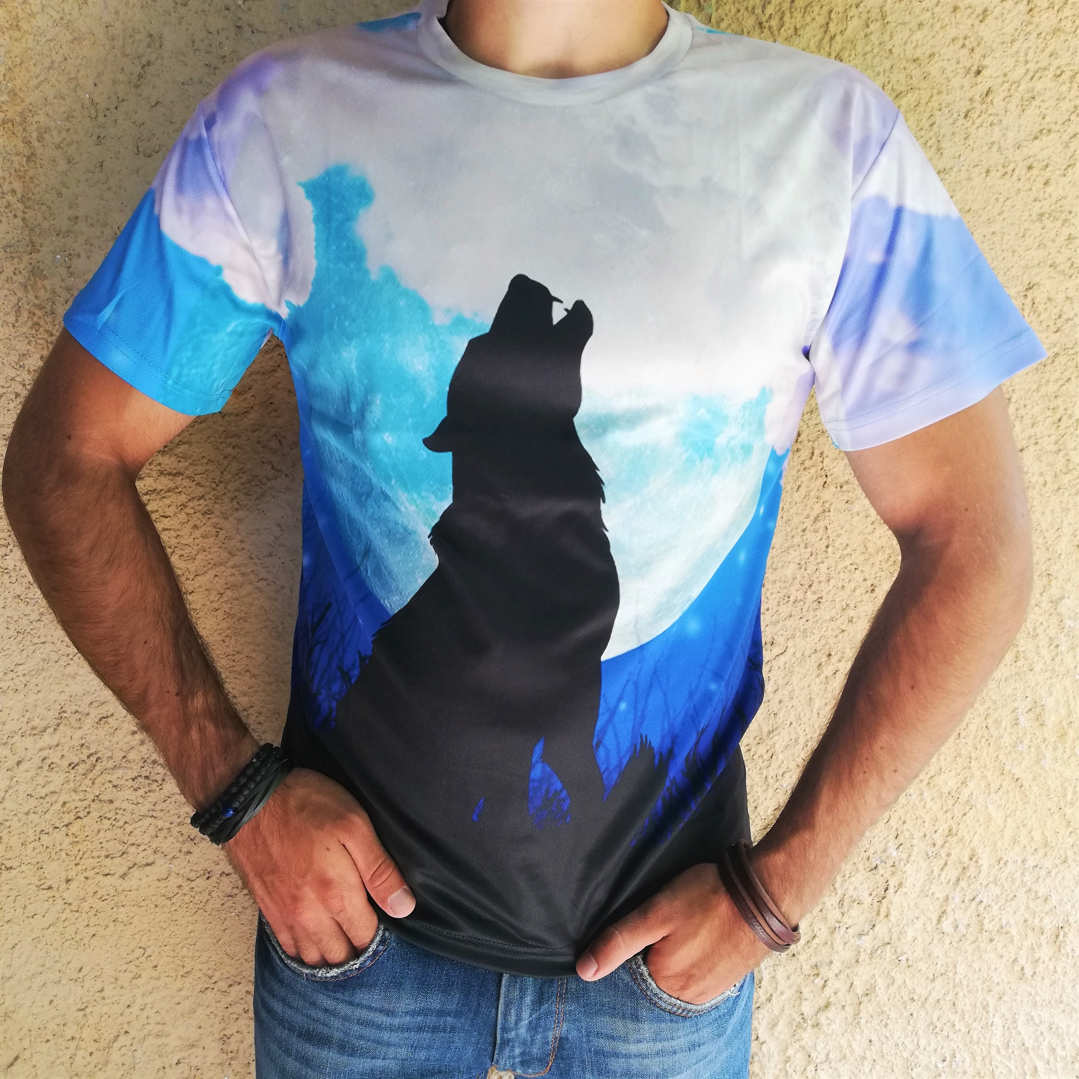Tricou 3D Wolf Moon Howl 0